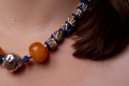Amber, Ghanian & Silver Beads - image