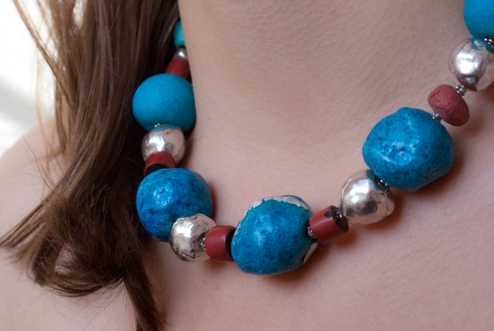 Egyptian Paste, Silver & Red Ceramic African beads - image